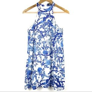 Missguided Blue/ White Floral Sleeveless Dress